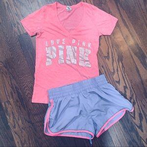 PINK v neck shirt (defect) and running shorts M